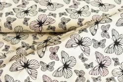 Látky Patchwork - Motýli na bílém podkladu