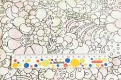 Látky Patchwork - Květy na bílém podkladu
