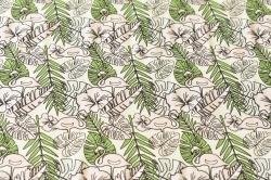 Látky Patchwork - Plameňáci v zeleni