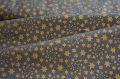 Látky Patchwork - Zlaté hvězdičky na šedé