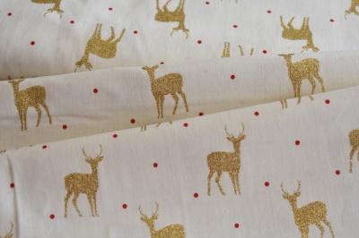 Látky Patchwork - Zlatí jeleni na krémové