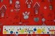 Látky Patchwork - Domečky, sněhuláci a skřítci na jasně červené
