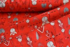 130275-5019 Domečky, sněhuláci a skřítci na jasně červené -