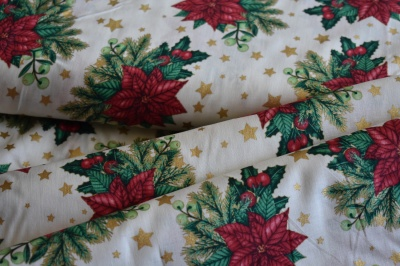 Látky Patchwork - Vánoční hvězda na bílé