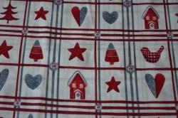 Látky Patchwork - Vánoční motivy na bílé