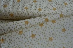 Látky Patchwork - Zlaté hvezdičky a vločky na smetanové