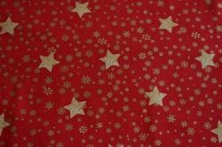 Látky Patchwork - Zlaté hvězdičky  na červené