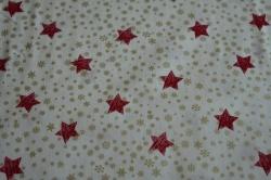 Látky Patchwork - Červené hvezdičky  na smetanové