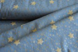 Látky Patchwork - Zlaté hvězdičky  na šedomodré