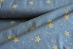 130271-5002 Zlaté hvězdičky  na šedomodré -