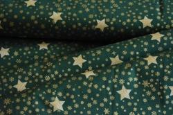 Látky Patchwork - Zlaté hvězdičky  na zelené