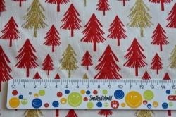 Látky Patchwork - Červené a zlaté stromky na bílé