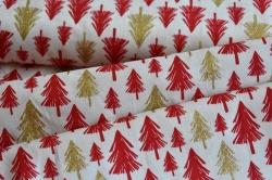 130254-6004 Červené a zlaté stromky na bílé -