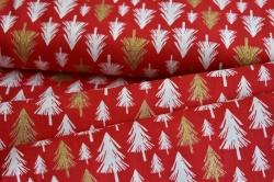 Látky Patchwork - Bílé a zlaté stromky na červené