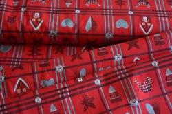 130274-5019 Vánoční motivy na tm. červené -