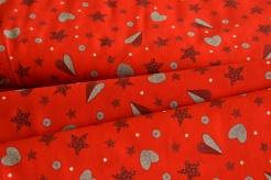 130276-5019 Srdíčka a hvězdičky na červené -