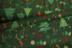 130277-5031 Vánoční stromky na tm. zelené -