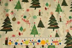 Látky Patchwork - Vánoční stromky na smetanové