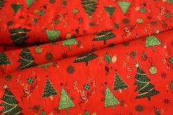 130277-5019 Vánoční stromky na jasně červené -