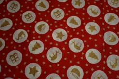 130251-5019 Vánoční symboly na červené - Glitr