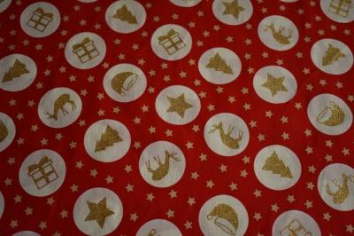 Látky Patchwork - Vánoční symboly na červené