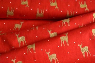 Látky Patchwork - Jeleni na červené
