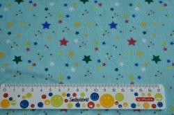 Látky Patchwork - Barevné hvězdičky na tyrkysovém podkladu