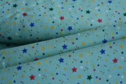 130431-3010 Barevné hvězdičky na tyrkysovém podkladu -