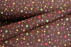 130431-3002 Barevné hvězdičky na hnědém podkladu -