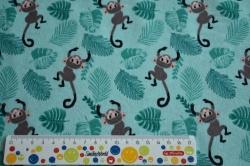 Látky Patchwork - Opice na zeleném podkladu