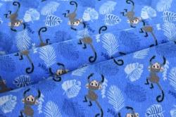 Látky Patchwork - Opice na tm. modrém podkladu