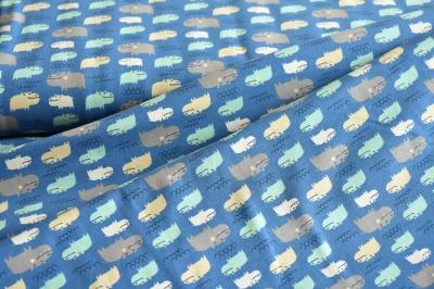 Látky Patchwork - Hroši na modrém podkladu