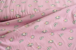 131664-3003 Medvídek a slon na růžovém podkladu -