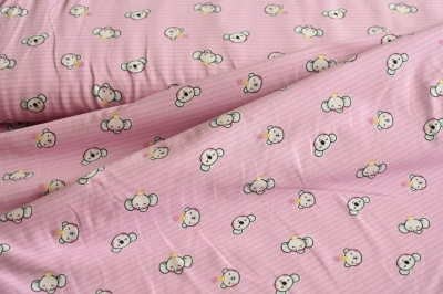 Látky Patchwork - Medvídek a slon na růžovém podkladu