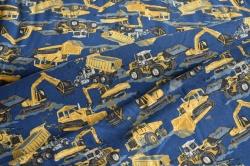131647-3004 Pracovní stroje na tm. modrém podkladu -