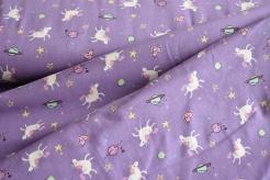 131664-3002 Jednorožci a planety na fialovém podkladu -