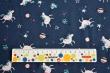 Látky Patchwork - Jednorožci a planety na tm. modrém podkladu