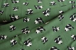 Látky Patchwork - Pandy na tm. zeleném podkladu