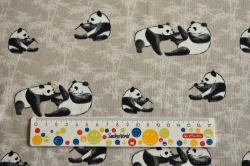 Látky Patchwork - Pandy na béžovém podkladu