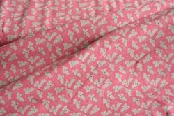 Látky Patchwork - Šedé myši na růžové