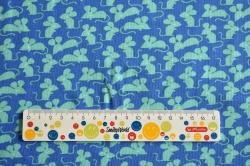 Látky Patchwork - Zelené myši na modré