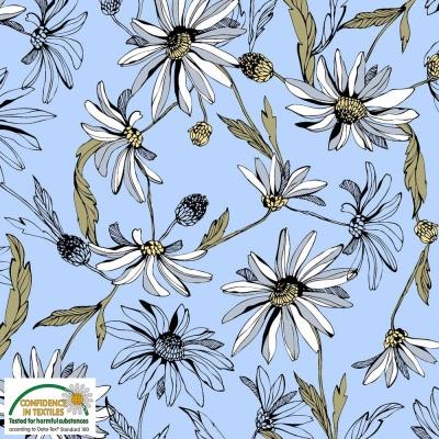 Látky Patchwork - AVALANA  jersey  viskoza - květinový vzor