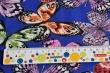 Látky Patchwork - Motýli na tm. modrém podkladu