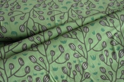 Látky Patchwork - Větvičky na zeleném podkladu