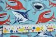 Látky Patchwork - Žraloci na sv. modrém podkladu