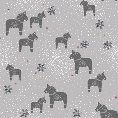 Látky Patchwork - Koně na šedé
