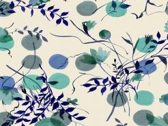 19-172 Puntíky a rostliny na smetanové -