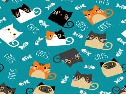 19-651 Kočky na tyrkysové -