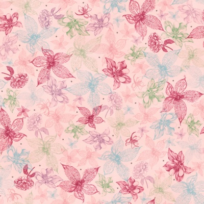 Látky Patchwork - Santoro My story - kytky na růžové