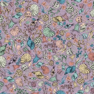 Látky Patchwork - Santoro My story - mořští živočichové na fialové